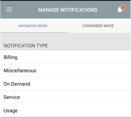 Manage Notifications Screen in SmartHub Mobile App